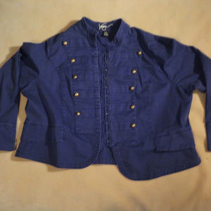 Twill Navy Cotton Military Jacket w/ Brass Buttons